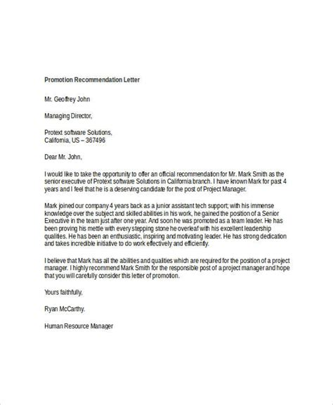 letter for promotion of business 10 promotion recommendation letters free premium