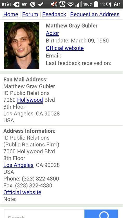 fan address matthew gray gubler fan mail address fan mail addresses