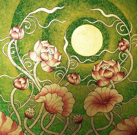 lotus flower painting designs lotus flower design thai golden moon royal thai