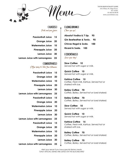 free printable restaurant menu templates best and