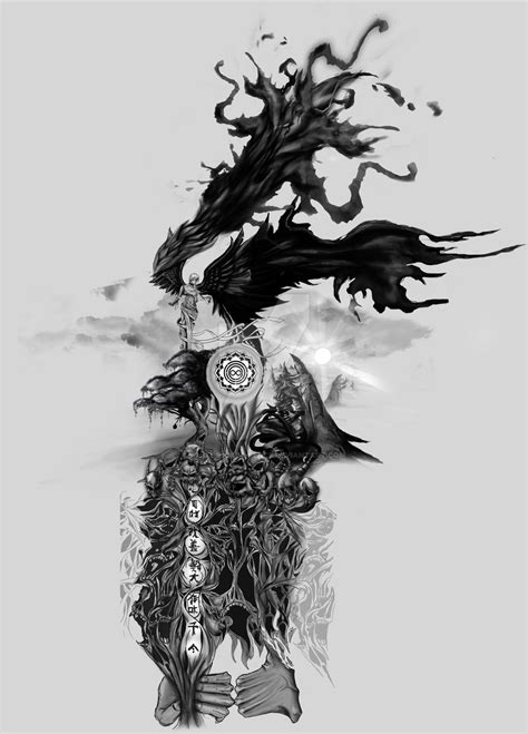 Full Sleeve Tattoo Design By White Picket Fence On Deviantart Black And White Sleeve Tattoos Drawings