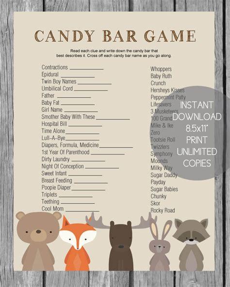 theme chocolate quiz baby shower candy bar game woodland animal theme print