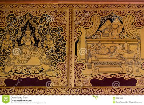 Interior Design Temple Home Thai Traditional Classic Pattern On Temple Wall Stock