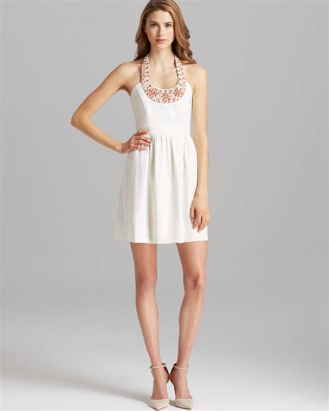 beaded halter dress shoshanna dress elenee beaded neck halter in white lyst