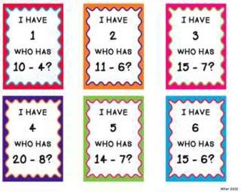 i who has math cards template i who has subtraction facts by lauramiller tpt