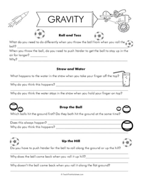 Gravity Worksheet by Teach This Worksheets Create And Customise Your Own