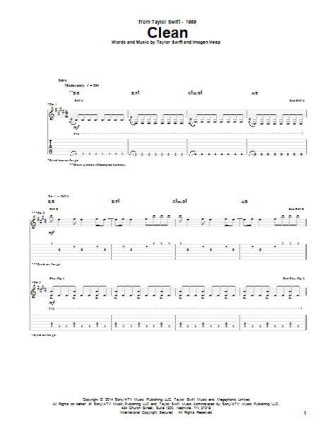 clean taylor swift lyrics chords clean by taylor swift guitar tab guitar instructor