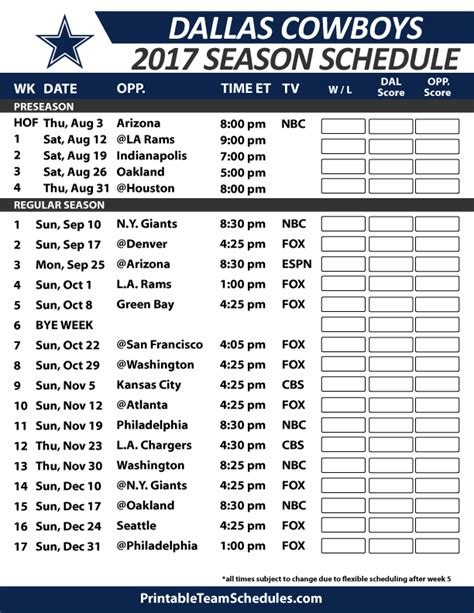 printable nfl schedule 2017 dallas cowboys football schedule 2017 nfl football