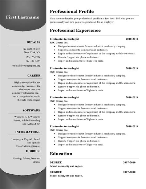 cv templates to resume templates 380 to 385 free cv template dot org