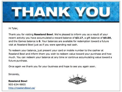 thank you letter to for reward bowling rewards