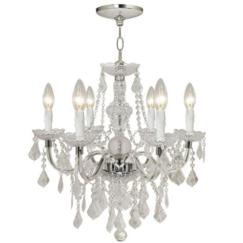 Chandelier Home Depot Theresa 6 Light Chrome Chandelier