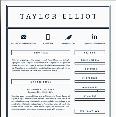 One Page Resume Template Word by One Page Resume Template Cyberuse