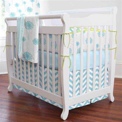 Contemporary Crib Bedding Aqua Dandelion Mini Crib Bedding Contemporary Baby Bedding Atlanta By Carousel Designs