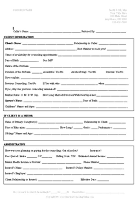 counseling intake form template intake forms exle