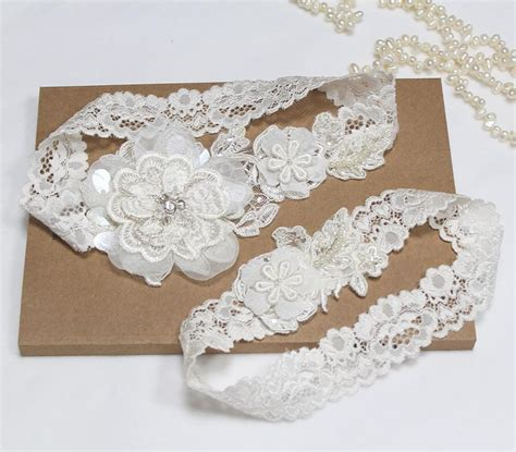 Wedding Garter Sets by Ivory Lace Wedding Garter Set Wedding Garter Set Bridal