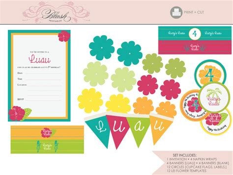 free printable luau party decorations luau party printables the suite comes with an invitation