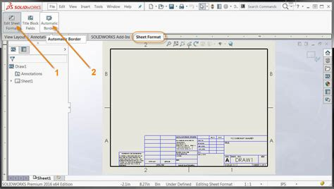 solidworks drawing template tutorial new features in solidworks 2016 automatic border