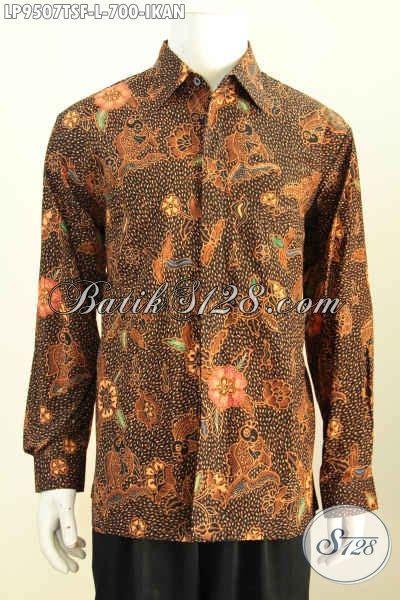 Batik Hem Ikan hem batik mewah motif ikan pakaian batik elegan lengan panjang furing proses tulis soga