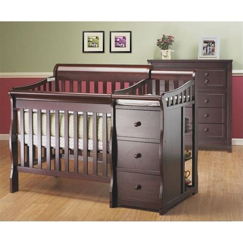 Sorelle Newport Mini Crib Sorelle Newport 3 In 1 Mini Convertible Crib Changer Combo In Merlot 595 M