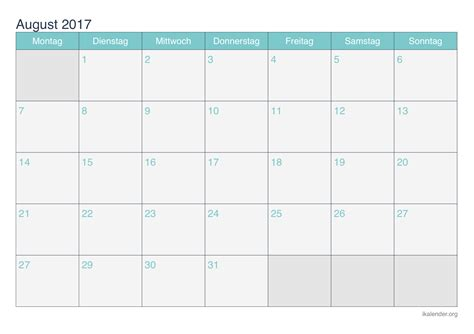 Kalender 2017 Monatskalender Kalender August 2017 Zum Ausdrucken Ikalender Org