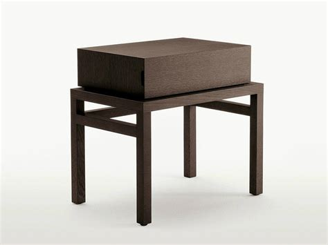 Maxalto Furniture by Rectangular Solid Wood Bedside Table With Drawers Thronos