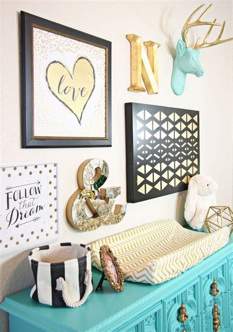 Turquoise And Gold Bedroom Decor by Gold Nursery Design We The Turquoise Accents