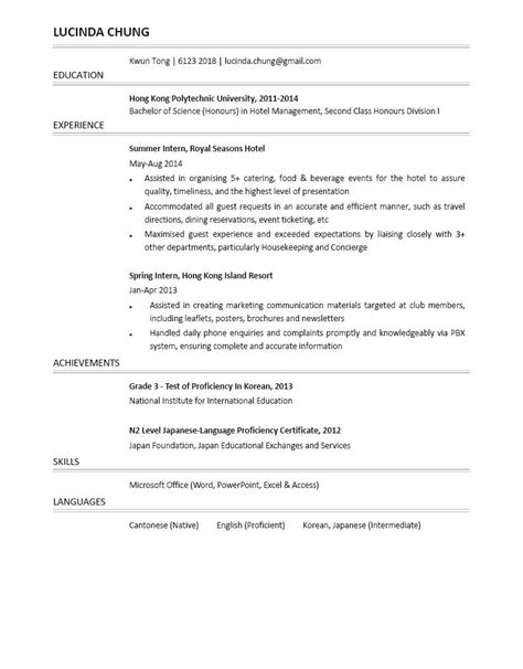 Cover Letter For Fresh Graduate Hotel Hotel Management Graduate Cv Ctgoodjobs Powered By Career Times