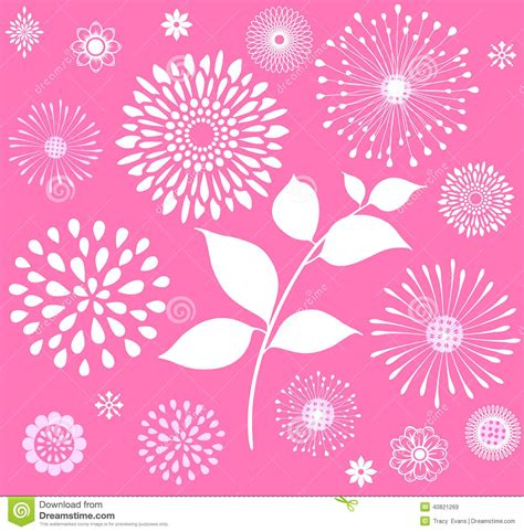 vintage style floral background with pink blooms royalty white retro floral clipart on pink background stock