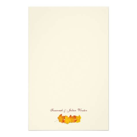 fall themed writing paper maple leaf signature fall themed writing paper stationery
