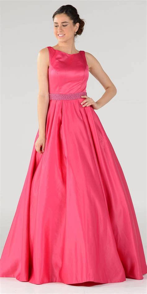 gaaoun drees sleeveless satin a line ball gown with embellished waist