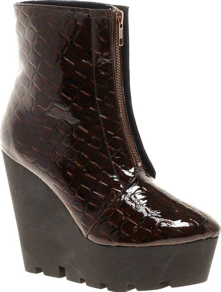 cheap wedge boots cheap monday monolit zip front croco wedge ankle boots in