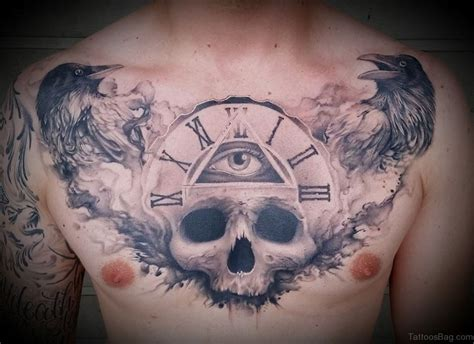 raven chest tattoo 99 top class skull tattoos on chest