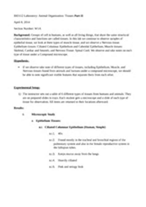 sections of a lab report invertebrates and vertebrates lab report bio112