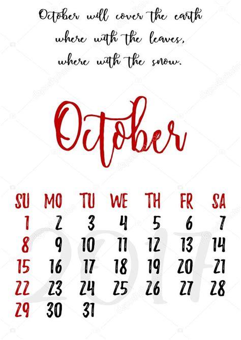 Calendario De Letra Grade De Calend 225 Letras Para 2017 Outubro Vetor