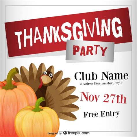 Thanksgiving Party Flyer Template Vector Free Download Thanksgiving Flyer Template Free