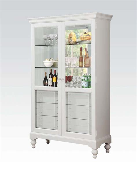 curio with drawers white curio w 6 drawers by acme furniture ac90107