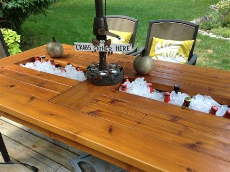Outdoor Cedar Table With Built In Coolers For Beer And Cedar Patio Table
