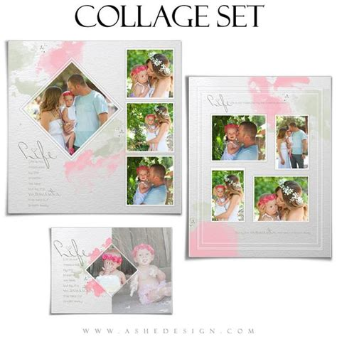 Photoshop Collage Template Set Watercolors Ashedesign Picture Collage Template For Word