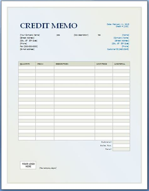 A Credit Memo Is A Document That