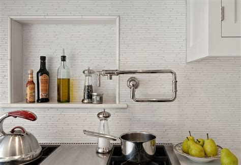 kitchens pot filler tumbled linear stone tiles linear marble tiles design ideas