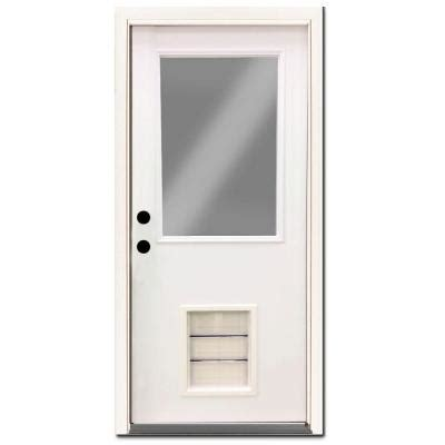 Exterior Pet Doors Steves Sons Premium Half Lite Primed White Steel Prehung Front Door With Large Pet Door Spd