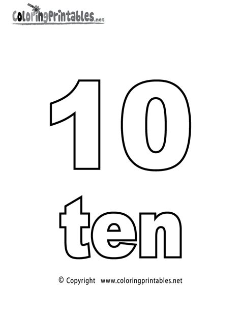 coloring pages of the number 10 number ten coloring page printable numbers activities