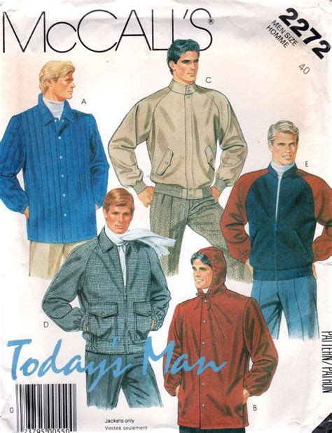 vintage pattern bomber jacket mccalls 2272 1980s todays man mens jacket pattern bomber