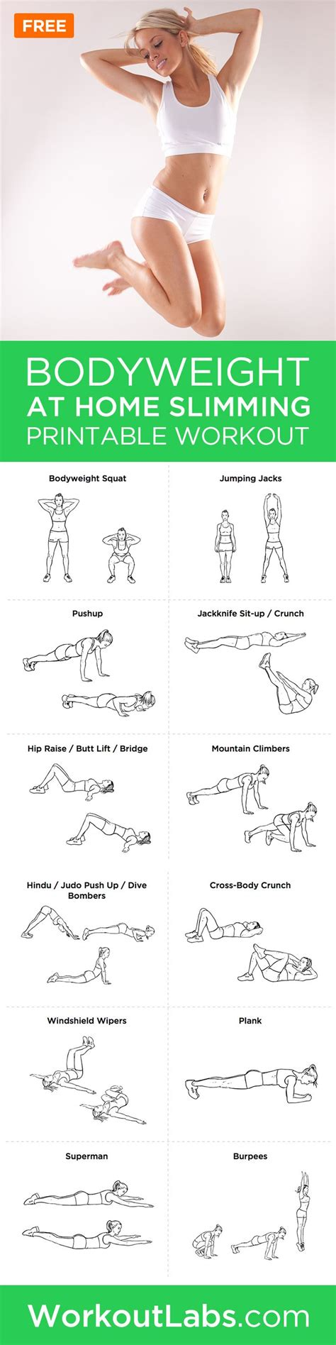 bodyweight at home slimming workout fitness