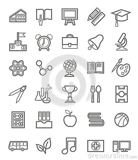 education theme drawing education icons linear grey outline white background
