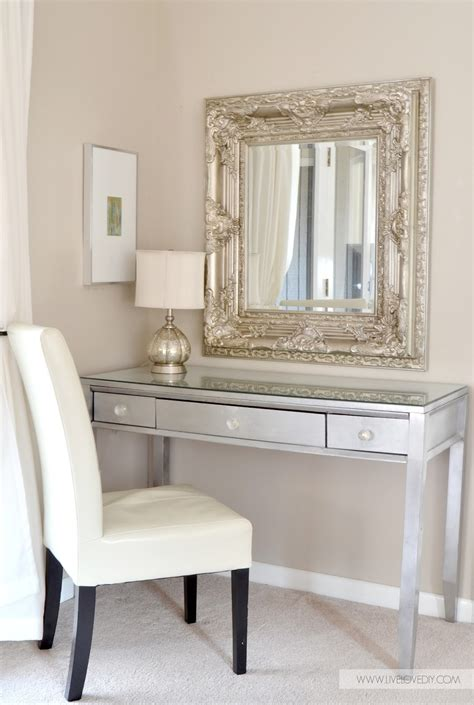 Diy Vanity Desk Diy Silver Leaf Vanity Made From An Thrift Desk This Home Decorating Diy