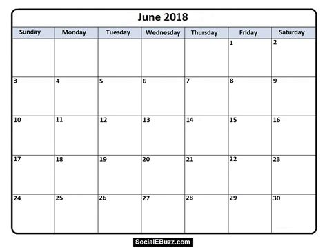 printable calendar 2018 june 2018 calendar printable template with holidays pdf usa uk