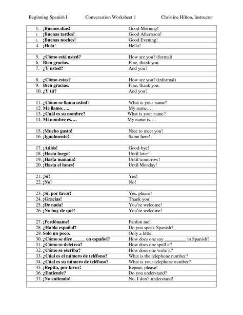 printable english to spanish worksheets spanish beginner worksheets worksheets releaseboard free