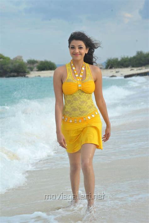 hot photos from goa beach picture 173928 kajal hot in yellow skirt at goa beach
