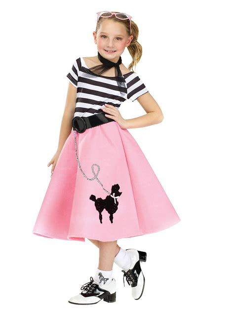 50 girl halloween costumes girl s poodle dress with scarf belt girls 50s costumes